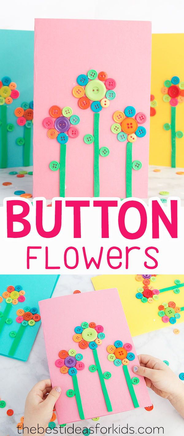 Button Flower Card Art & Craft Idea for Mother's Day or Spring Craft. Lovely Mother's Day Gift from Kids or Mother's Day Crafts for Preschoolers. This is such an easy Mother's Day Craft Kids can Make. #springcraft #buttons #mothersday #card #diy #craft via @bestideaskids