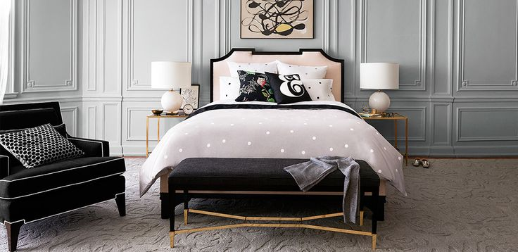 Kate Spade home furnishings | dove gray, slate, black, citron, and white bedroom