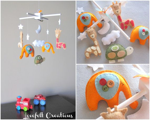 Baby Mobile - Baby crib mobile - Custom Baby Mobile - Elephant Mobile - Giraffe Mobile