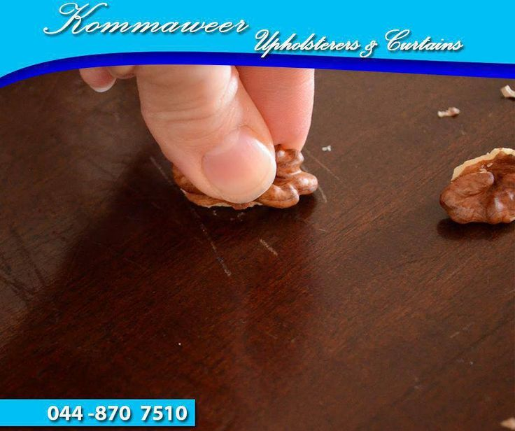 #LifeHack: Cover up scratches on wooden furniture by using this simple technique with a walnut. Remove a large piece of nut from the shell and rub it diagonally into the scratch. Pecans and almonds will also work. #Kommaweer
