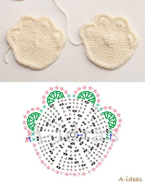 crochet coasters paws diagram