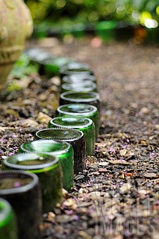 Glass bottles used as path edging- a great recycling project. We could have enough bottles to use in a week from the alley recycling bins to do our whole front yard and then some