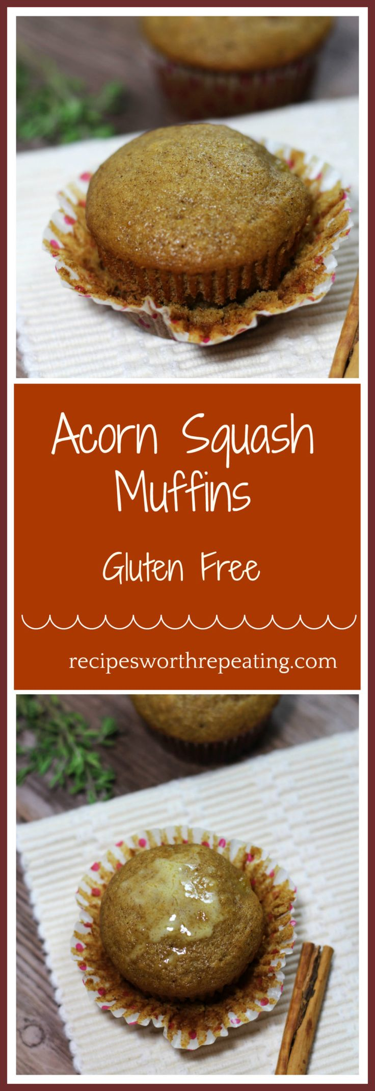 These Acorn Squash Muffins are gluten free and scream all things fall flavor! Made with acorn squash puree, these muffins have the perfect flavor if cinnamon, nutmeg and clove!