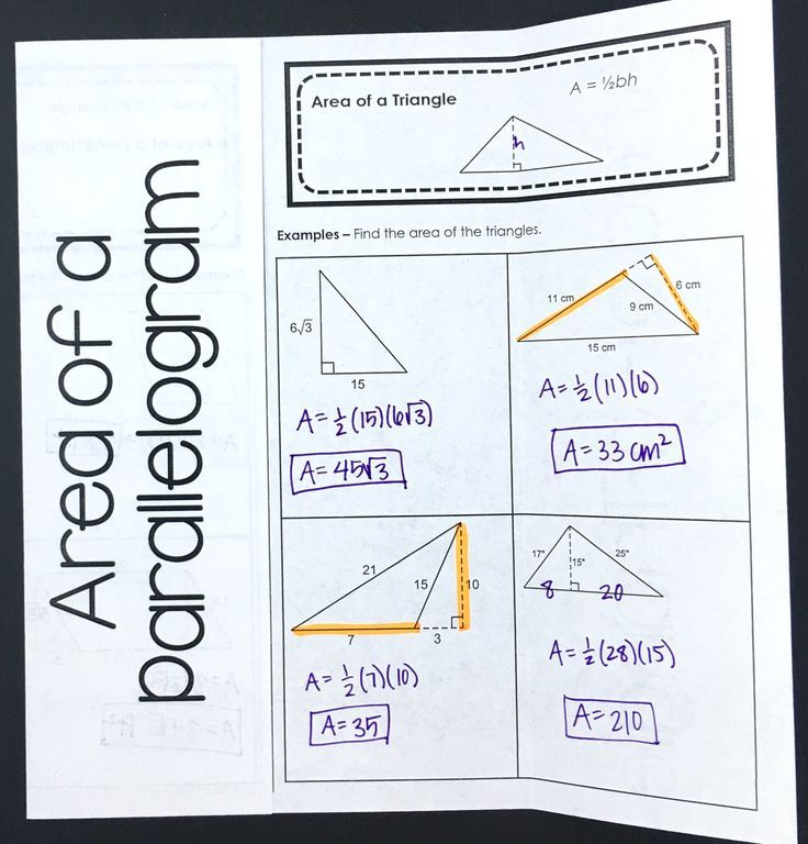 I love this foldable for my high school geometry student's interactive notebooks! Area of a parallelogram and area of a triangle can be challenging for some math students, but this activity makes it more fun.