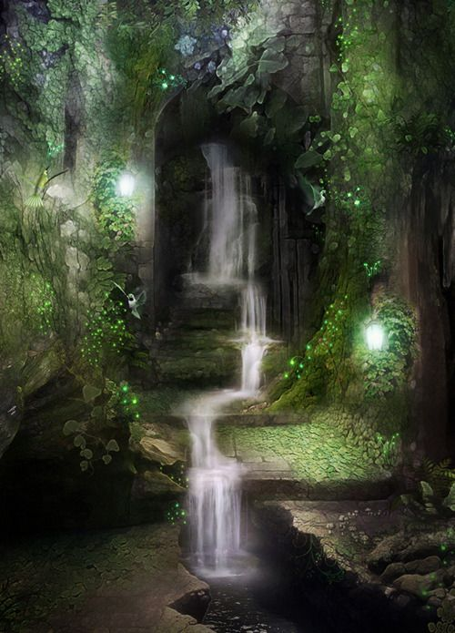 Waterfalls in the Enchanted Woods/Forest. Fantasy Art.