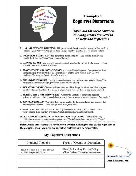 Worksheets Cognitive Distortions Worksheet 15 must see cognitive distortions pins counseling cbt therapy distortions