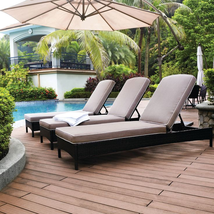 Outdoor Stunning Pool Chaise Lounge Set Rattan Wicker Chair Beige Cushion  Outdoor Umbrella Wooden Deck Outdoor