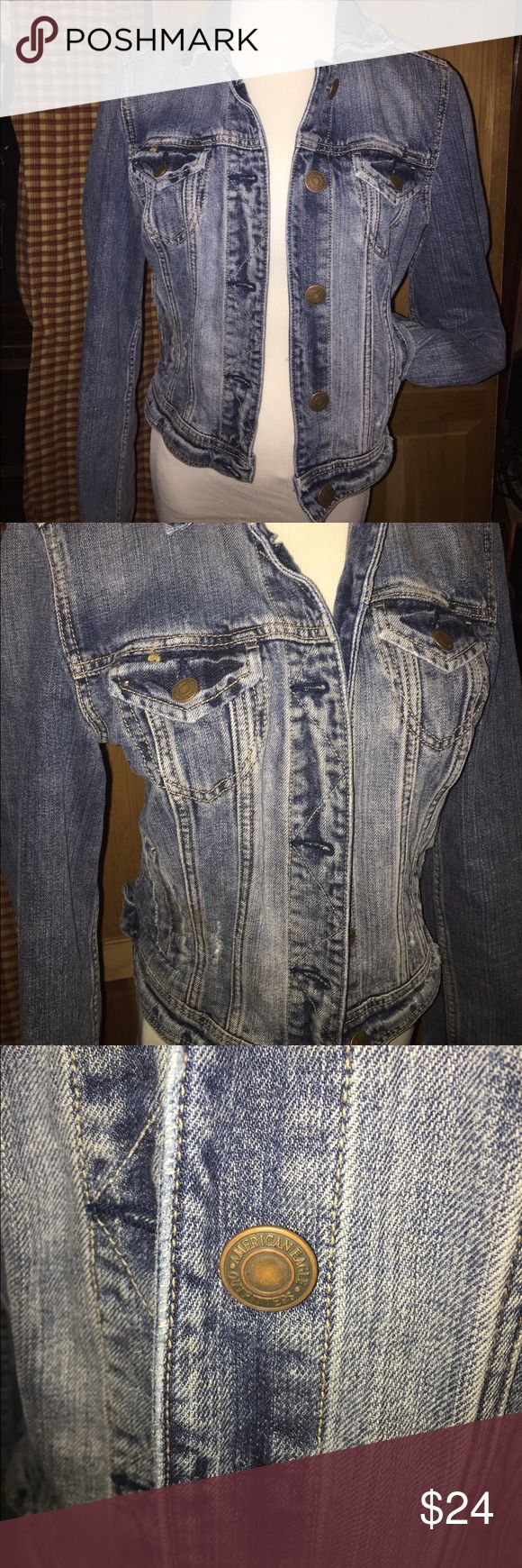 Distressed American Eagle jean jacket Size medium. Very cute. Sort of cropped. Not long. American Eagle Outfitters Jackets & Coats Jean Jackets