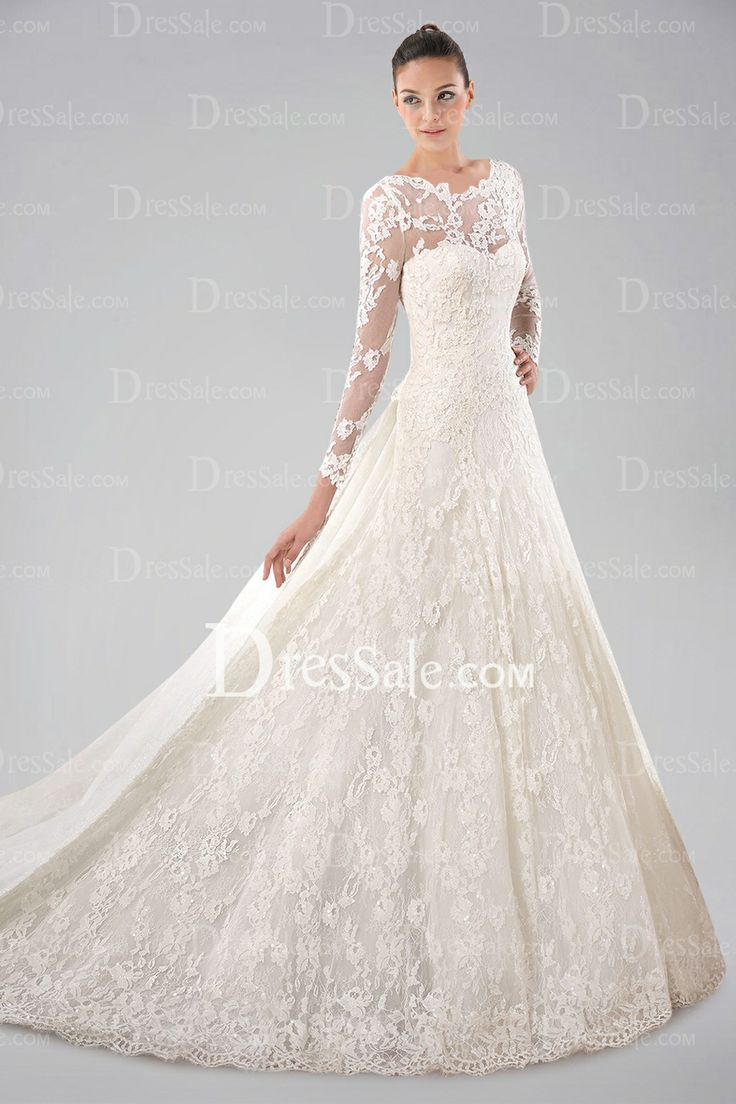 Pretty long sleeve wedding gown with lace overlay and for Lace wedding dress overlay