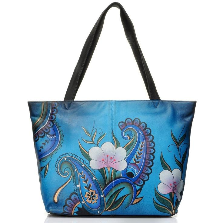 Anuschka Zip Top Hand Painted Leather Large Tote Bag. Hand painted handbag.
