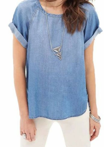 Danielle Denim Tee - WILD BILLY   Free Express Shipping, Australia online clothing store, Womens Fashion