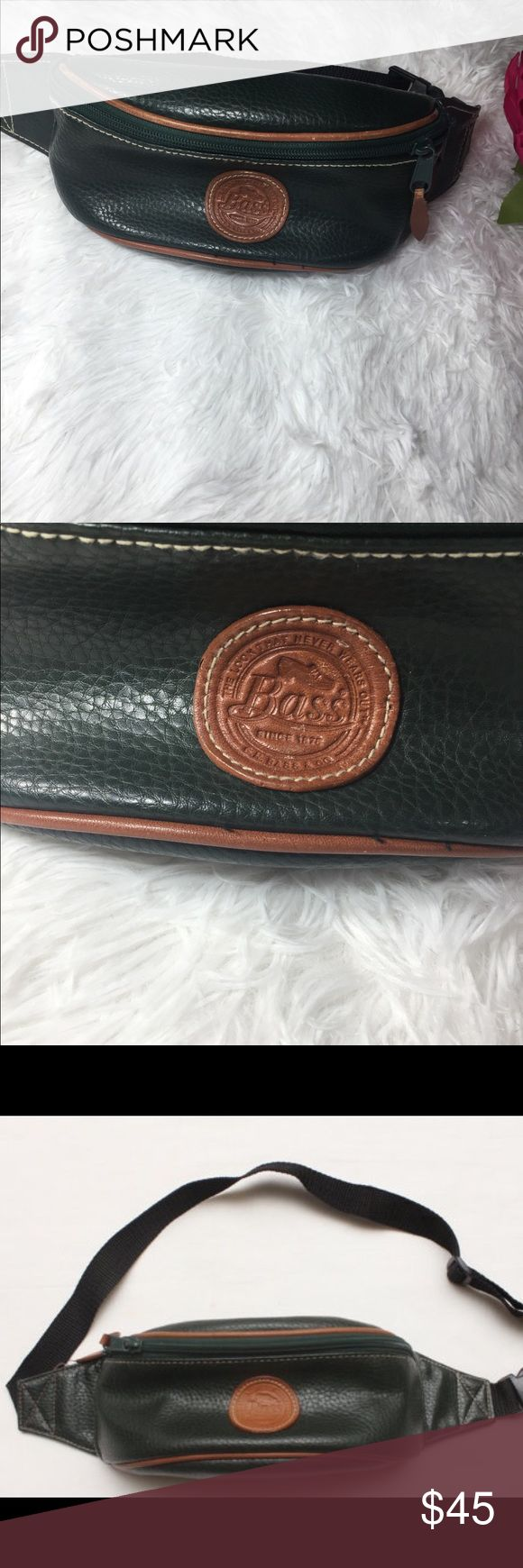 """Rare 90's Vintage Green Genuine Leather Fanny Pack Rare 90's Vintage Green Genuine Leather Fanny Pack Rare 90's Vintage """"BASS"""" Green Genuine Faux Leather Fanny Pack  COLOR: GREEN & TAN  CONDITION: EXCELLENT  MATERIAL: FAUX LEATHER  SIZE: ONE SIZE FITS ALL  MEASUREMENTS: (IN INCHES) LENGTH- 9.5"""" HEIGHT- 3.5"""" Vintage Bags"""