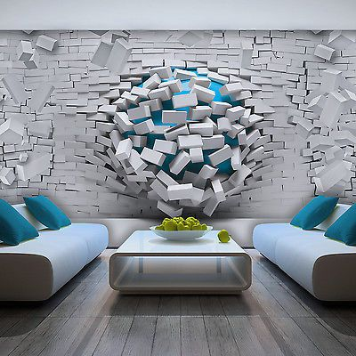 Bild  Tapete Fototapete Wandbild Tapeten 3d Ziegel Blau Wand Weiss Foto 3006 P8