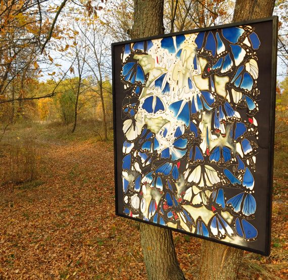 Original Silk Painting  Butterflies at Night  Hand by SilkMood