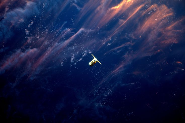 Cygnus Spacecraft Approaches Space Station in the Sunset #NASA #ImageoftheDay