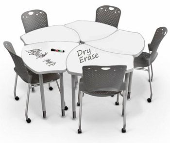 Balt's Shapes Desk brings simplicity and functionality in a customizable package made to fit any classroom or study setting. The table's ergonomic shape provides ultimate flexibility and workspace comfort for left or right hand seating and the white Dry Erase top allows for student creativity.