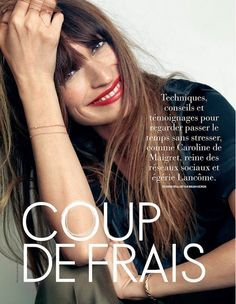 French girl beauty: messy bags, clean face, red lip // Caroline de Maigret photographed by Nico for Elle Belgium