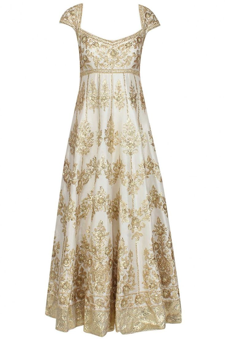 This offwhite anarkali is made in raw silk base appliqued with floral pattern gold gota patti work and beads embroidered motifs all over the front and back gher