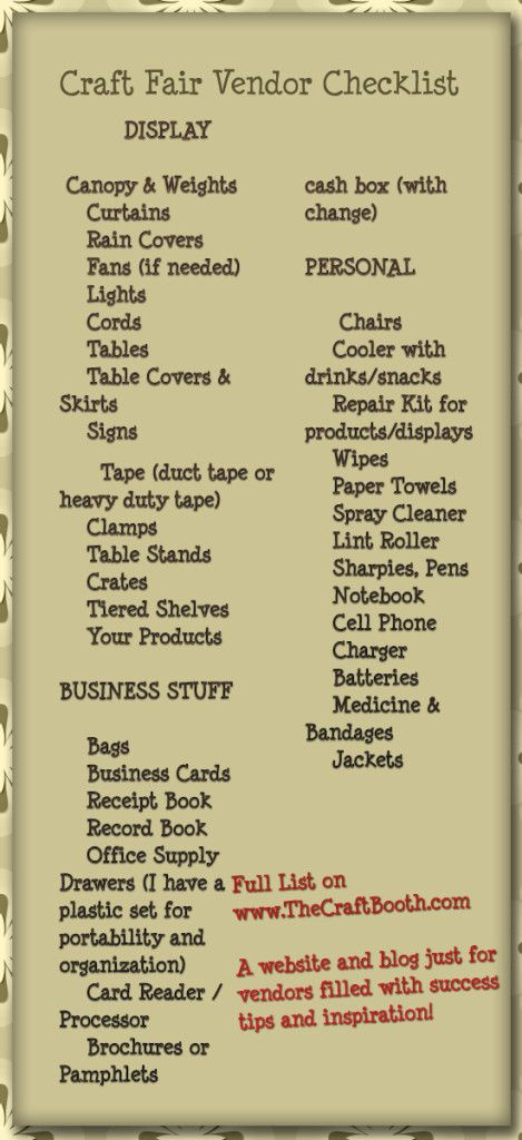craft fair vendor checklist printable