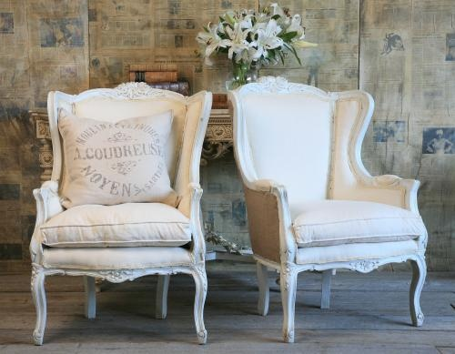 vintage wing back chairs country french