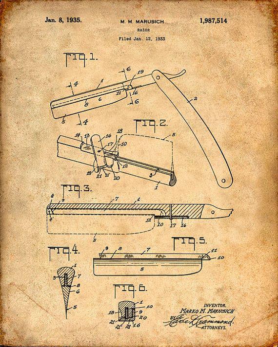 Patente la impresión de una navaja de afeitar - lámina - de patente patente cartel - peluquero - peluquería