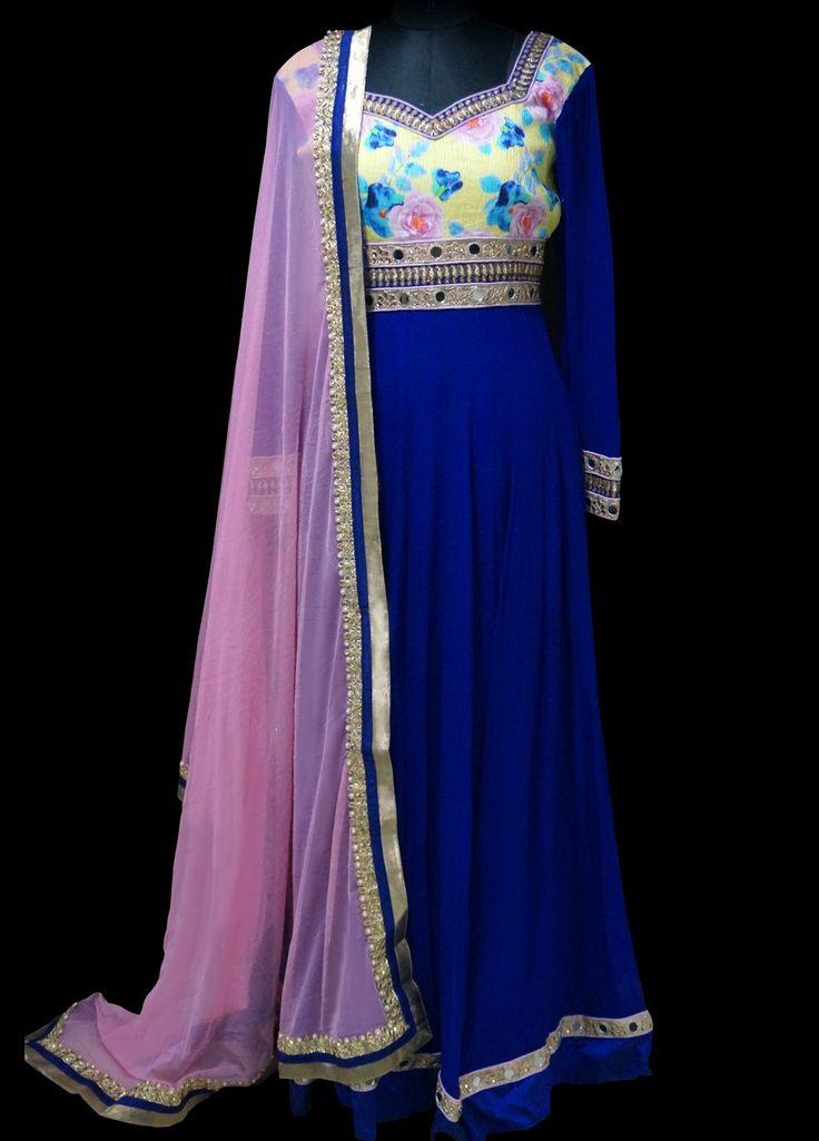 Lashkaraa Royal Blue Floral Anarkali