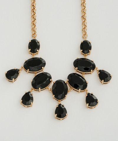 Black Enamel Stone Statement Necklace. $50.00