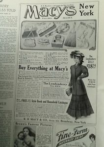 Macy's 5th ave department store fashion ad 1907 original vintage 1900s model art