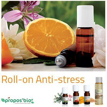 Roll-on Anti-stress Réalisez votre roll-on anti-stress, à appliquer sur l'intérieur des poignets et à respirer dès que besoin ! Dans un flacon roll-on de 5 ml, ajoutez 4 ml d'Huile de Sésame, 6 gouttes d'huile essentielle d'Orange douce, 3 gouttes d'huile essentielle de Géranium et 3 gouttes d'huile essentielle de Pruche.