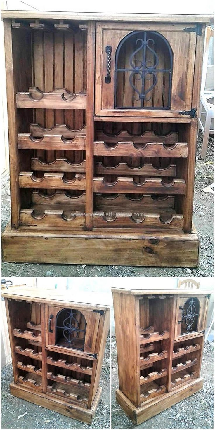 wood pallet bottle stand idea