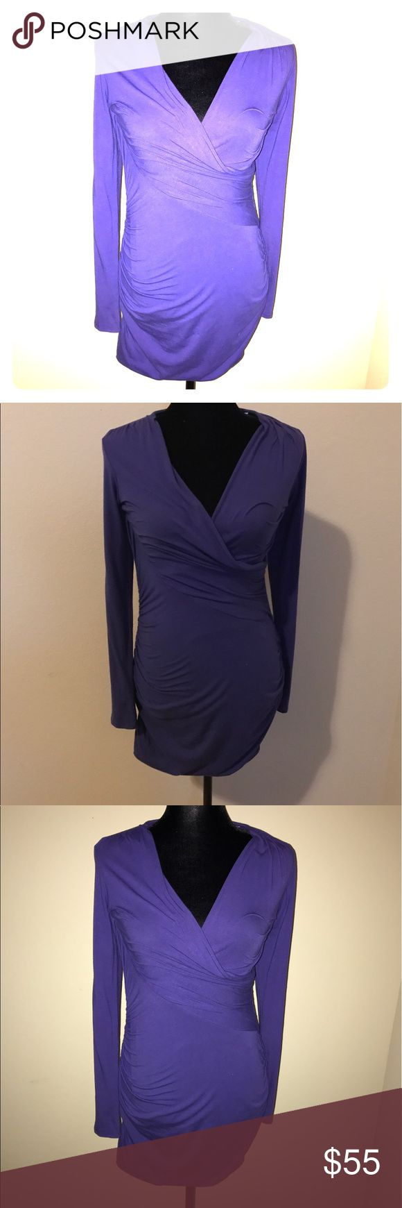 Ella Moss Purple Body Con Midi Dress Medium Great dress to have as a wardrobe staple. Curve hugging- great for a sexy night out. Ella Moss Dresses