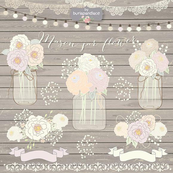 Hand draw Mason Jar Wedding clipart by burlapandlace on Creative Market