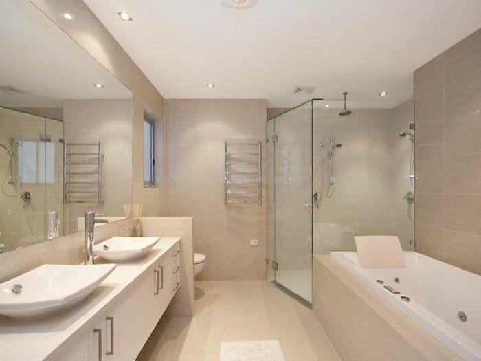 Les 25 meilleures id es concernant salle de bains taupe - Pose de faience dans une salle de bain ...