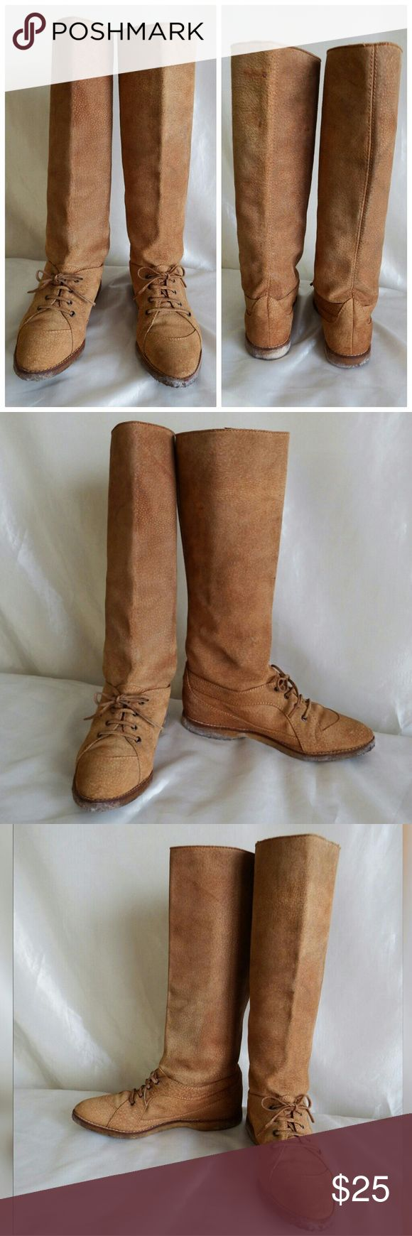 """Maude Frizon - Vintage Suede Equestrian Boots Vintage suede leather equestrian boots. Pull-on style with lace-up front. 15"""" high /14"""" calf circumference. Best suited for someone with slim calves. In good used, vintage condition. Gum soles. Made in Italy Maud Frizon Shoes"""