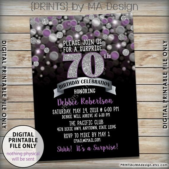PERSONALISED BIRTHDAY PARTY INVITES Surprise Invitations Various Colours