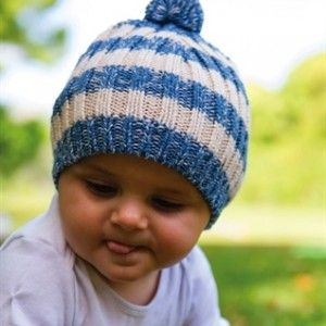 Baby Boys Beau Beanie – Cool cream and blue stripe beanie for boys. Great soft wool blend knit with a surfer look.