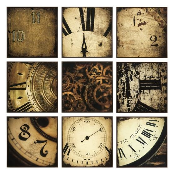 """Nouvelle Wall Decor - Detail photos of antique wall clocks emblazon walls with vintage style in a nine piece wall panel set. Center panel contains a working clock mechanism. 10.75""""h x 10.75""""w Materials: 50% MDF, 40% Print, 10% Plastic Frames."""