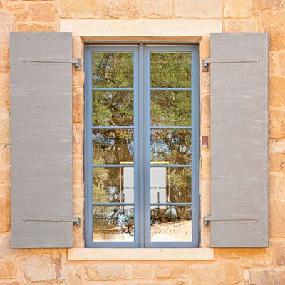blue trim, gray shutters