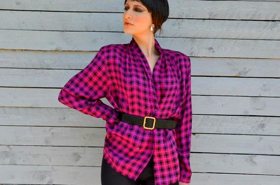 Fuchsia and black check double breasted shirt by RoaringRetro, $35.00