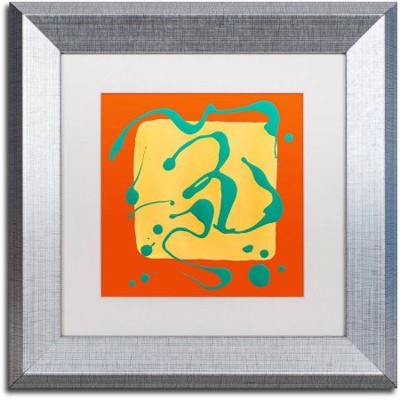 Trademark Fine Art 'Yellow Square on Orange' Canvas Art by Amy Vangsgard, White Matte, Silver Frame, Size: 11 x 11, Assorted