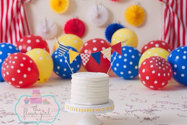 Buttercream smash cake circus theme carnival