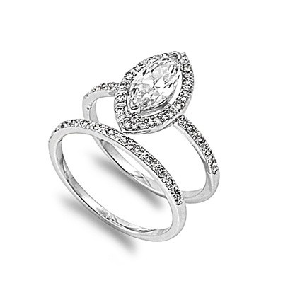 Dana's 1.5CT Vintage Pave Halo Marquise Cut Cubic Zirconia Wedding Ring Set