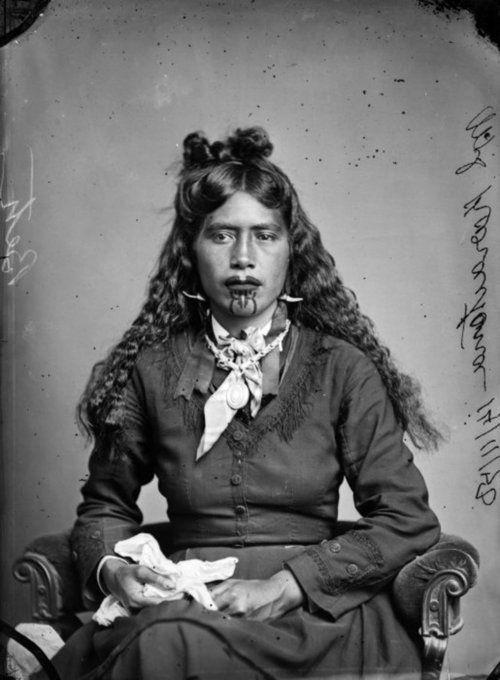 Portrait of one of the three wives (whose names are unrecorded) of chief Karaitiana Takamoana's (Ngati te Whatu-i-Apiti and Ngati Kahungungu) by Samuel Carnell, 1878, Aotearoa (New Zealand)  http://www.teara.govt.nz/en/biographies/1t5/takamoana-karaitiana