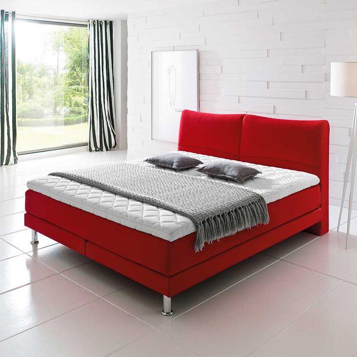 Boxbett In Rot (3 Teilig) Modern Mit Matratze Und Topper Inklusive. Bezogen