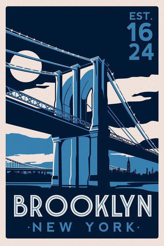 brooklyn bridge new york city skyline vintage retro silk screen printed poster etsy on etsy. Black Bedroom Furniture Sets. Home Design Ideas