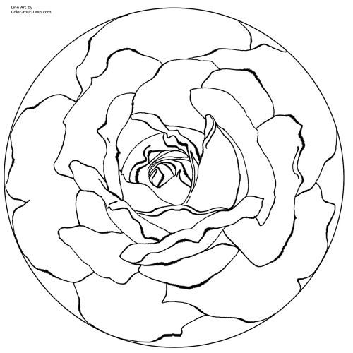free mandala color rose love to do this with a paisley print