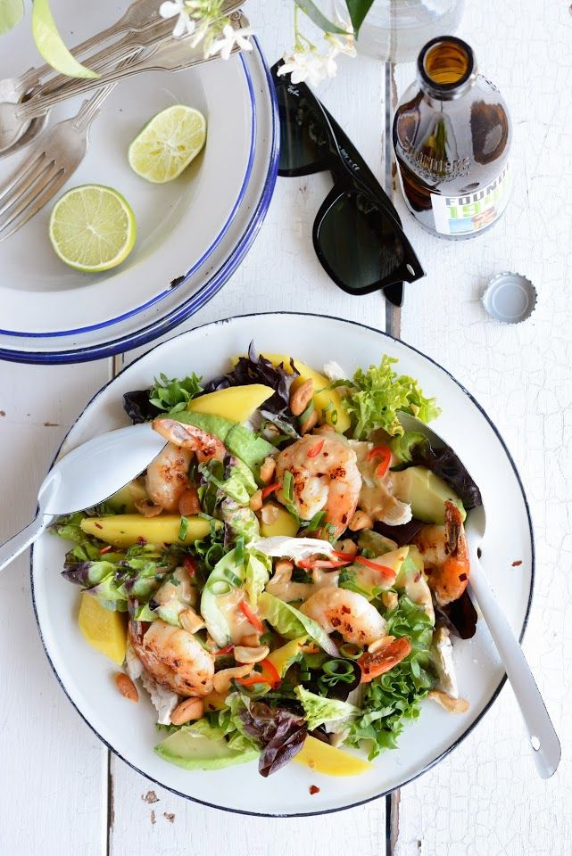 Prawn, Mango, Avocado & Chicken Salad with Spicy Peanut Dressing