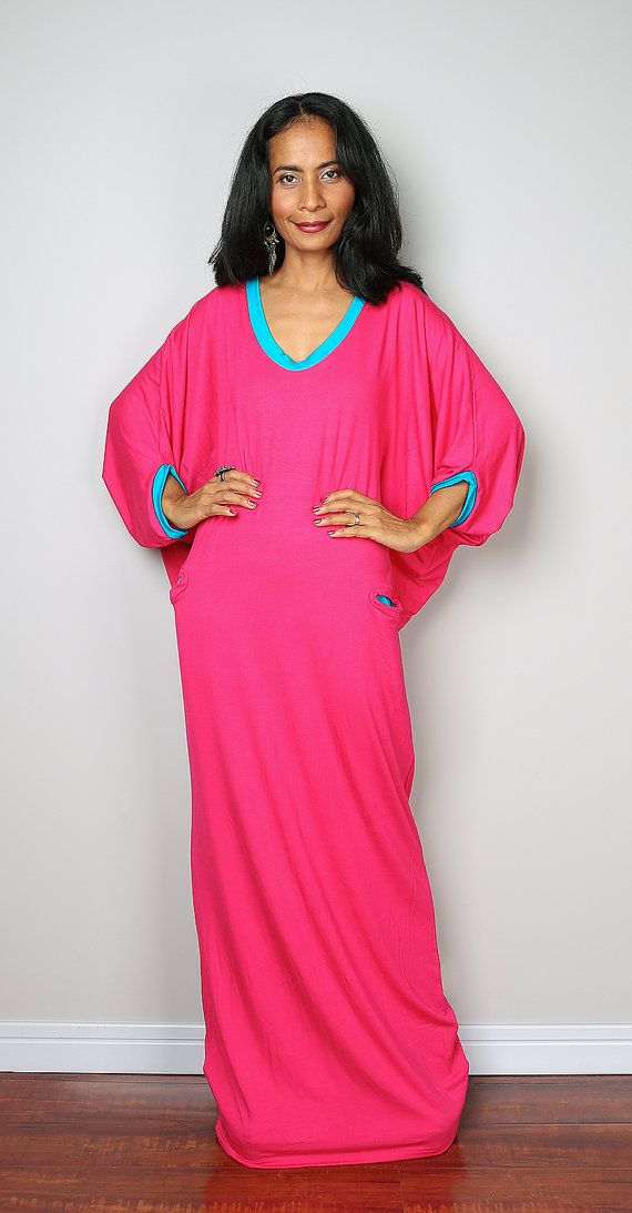 Pink Maxi Dress -  Loose Fit 3/4 Sleeve Hot Pink dress : Autumn Thrills Collection No.14  (New Arrival)