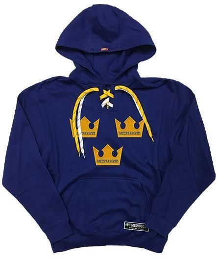 cee6ac0e662 MESHUGGAH  TRE KRONOR  laced pullover hockey hoodie in royal blue with gold  and white striped laces We all know that Sweden is a HOCKEY super-power