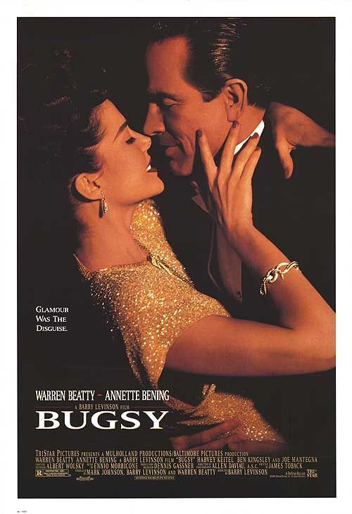 """Bugsy"" in 1991 directed by Barry Levinson (Baltimore 1942). American crime-drama film. Tells the story of mobster Bugsy Siegel, who was a major driving force behind large-scale development of the Las Vegas. The film won two Academy Awards (Art Direction, Costume Design), and was nominated for Picture, Actor (Beatty), Actor in Supporting Role (Keitel and Kingsley), Cinematography, Director, Music, Original Score and Screenplay. Received eight Golden Globe nominations and won Picture-Drama."